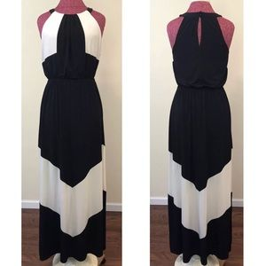 Vince Camuto Maxi Dress Black White Chevron Gown